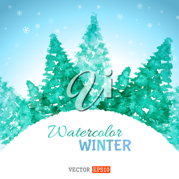 Hand-drawn winter landscape. There is place for your text.