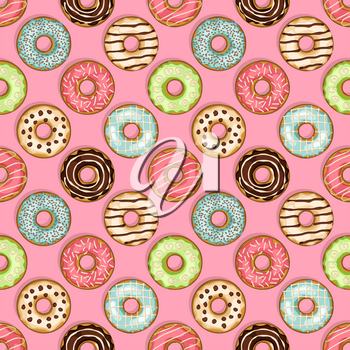 donuts seamless pattern on pink background. vector illustration - eps 8