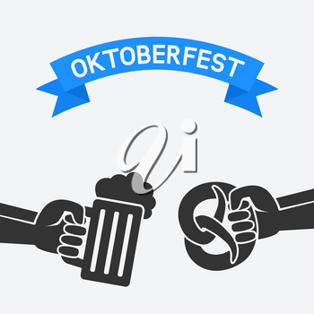 Oktoberfest concept. Hand with beer mug and pretzel. vector illustration - eps 8