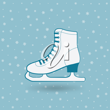 figure skate on blue background with snowflakes. vector illustration - eps 10