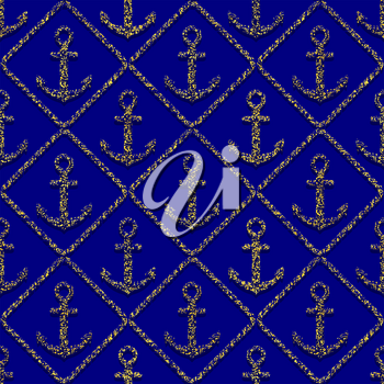 golden anchors seamless pattern on blue background. vector illustration - eps 8