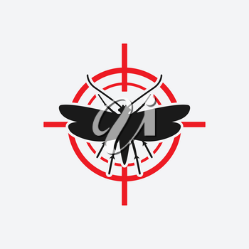 clothes moth icon red target. vector illustration - eps 8