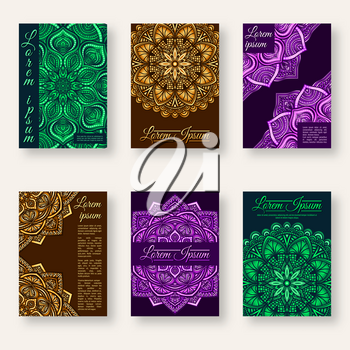 set of six posters with floral circular pattern. vector illustration - eps 10