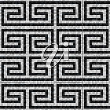 geometric black and white mosaic seamless pattern in antique roman style. vector illustration - eps 10