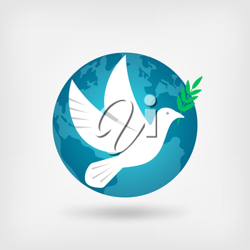 dove with olive branch and globe. vector illustration - eps 10