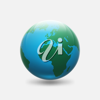 Planet Earth with green continents Africa and Europe. vector illustration - eps 10
