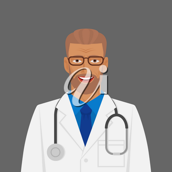Doctor medic man in white coat with stethoscope. Vector illustration