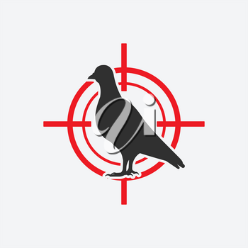 Pigeon silhouette icon red target. Vector illustration
