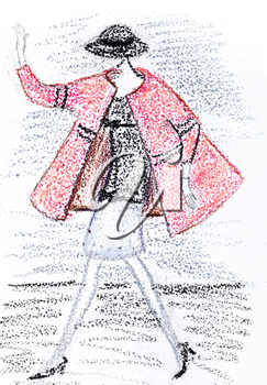 fashion of 20th Century - girl in a short pink coat and black hat from 60th years