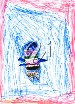 childs drawing - abstract bird with small wings
