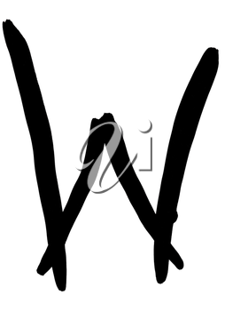 letter W hand written in black ink on white background