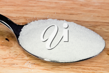 tablespoon of finely ground sea salt close up