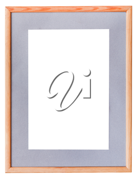 narrow wooden picture frame with grey mat with cutout canvas isolated on white background