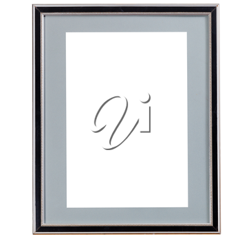 old black narrow picture frame with grey mat with cutout canvas isolated on white background