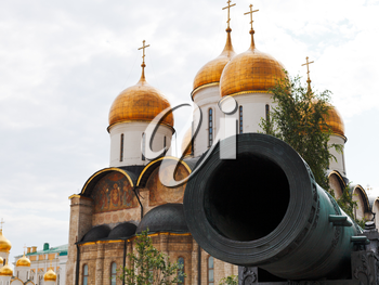 barrel of Tsar Cannon and Dormition Cathedral in Moscow Kremlin