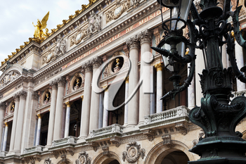 The facade of Opera house in Paris, France