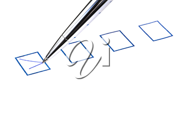 put tick in blue square box by silver pen