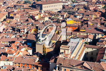 above view from Asinelli Tower on Bologna city, Italy
