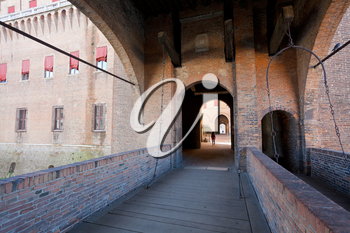 bridge to courtyard of The Castle Estense in Ferrara, Italy.