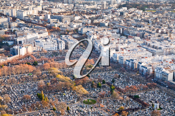 view on Montparnasse Cemetery and panorama of Paris in winter day