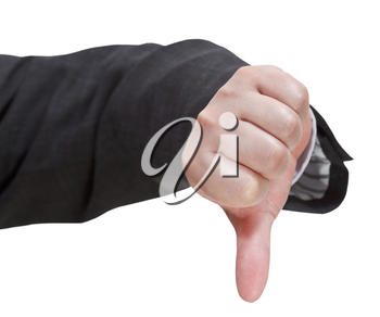 front view of thumbs down sign - hand gesture isolated on white background