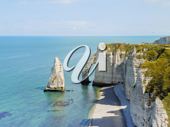 view of english channel coast with rocks on Etretat cote d'albatre, France