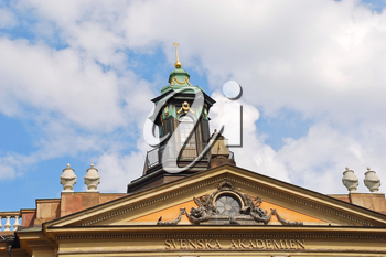 roof of Swedish Academy and Nobel Museum on Stortorget square in Stockholm