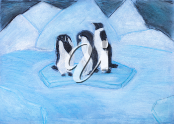 child's drawing - penguins on ice floe in cold blue night