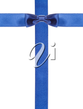 one blue satin bow knot in middle and two intersecting ribbons isolated on vertical white background