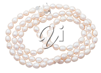 strings of beads from natural pink freshwater pearls isolated on white background