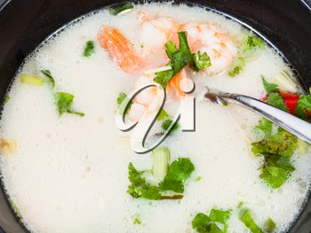 surface of sour and spicy soup Tom yam nam khon made with shrimps, coconut milk, chilli pepper, lemongrass, galangal, coriander, kaffir lime leaves in bowl isolated on white background