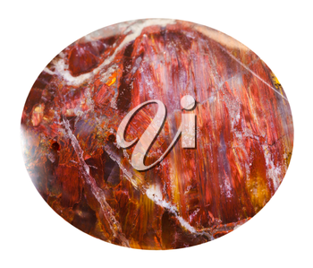 cabochon from red sunstone natural mineral gem stone isolated on white background