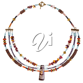 african style necklace from natural gems tones (mookaite, jasper), carved bone and coconut, glass beads, brass balls on white background