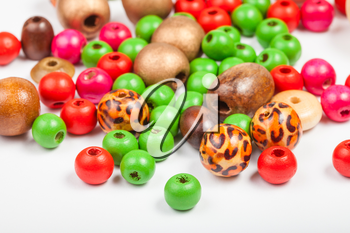 many painted wooden round beads close up