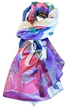 knotted hand painted batik silk blue and pink scarf with floral pattern isolated on white background