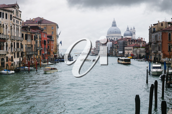 travel to Italy - Grand Canal in Venice city in rainy autumn day.