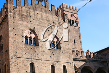 travel to Italy - wall of Palazzo Re Enzo in Bologna city