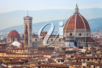 travel to Italy - above view of Santa maria del fiore in Florence city from Piazzale Michelangelo in autumn evening