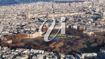travel to France - above view of luxembourg garden in Paris city in winter twilight from Tour Maine - Montparnasse (Montparnasse Tower)