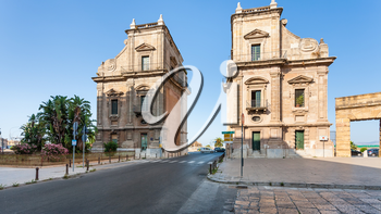 PALERMO, ITALY - JUNE 24, 2011: Porta Felice is monumental city gate in La Cala (old port) in Palermo. Porta Felice was built in Renaissance and Baroque styles between the 16th and 17th centuries