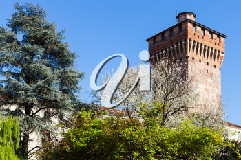 travel to Italy - view of Torre di Porta Castello (Tower of Castel Gate) in Vicenza in spring