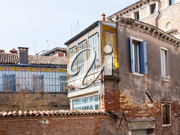 travel to Italy - living houses in residential quarter on square campo san severo of Venice city in spring