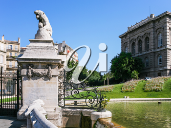 Travel to Provence, France - Lion statue on gate of Palais (Palace) Longchamp in Marseilles city