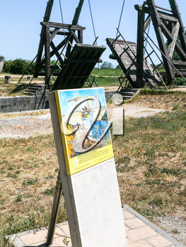 ARLES, FRANCE - JULY 7, 2008: view of Pont Van Gogh, replica of the Langlois Bridge, drawbridge which was the subject of several paintings by Vincent van Gogh in 1888, on Canal d'Arles a Fos