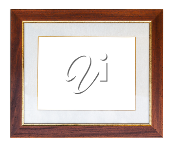 wide brown wooden picture frame with passepartout and cut out canvas isolated on white background