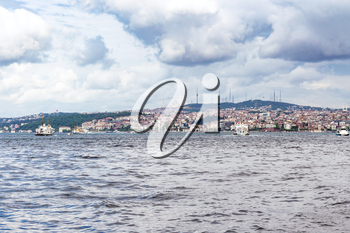 Travel to Turkey - view of Istanbul city on watefront of Golden Horn bay in spring