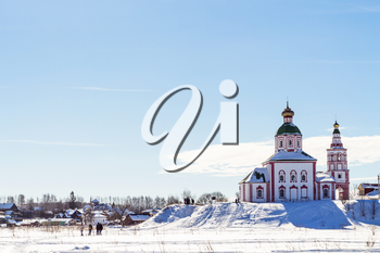 view of Suzdal town with Church of Elijah the Prophet on Ivanovo Hill (Elijah Church) in winter morning in Vladimir oblast of Russia