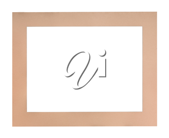 wide flat peach colored passe-partout for picture frame with cut out canvas isolated on white background