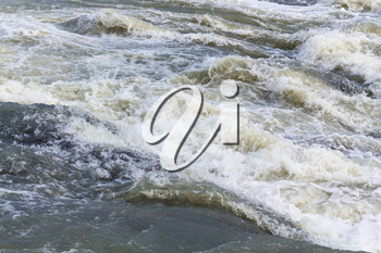 travel to Iceland - water of Olfusa River in Gullfoss waterfall in september