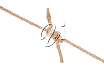 hunter's bend knot joining two ropes isolated on white background